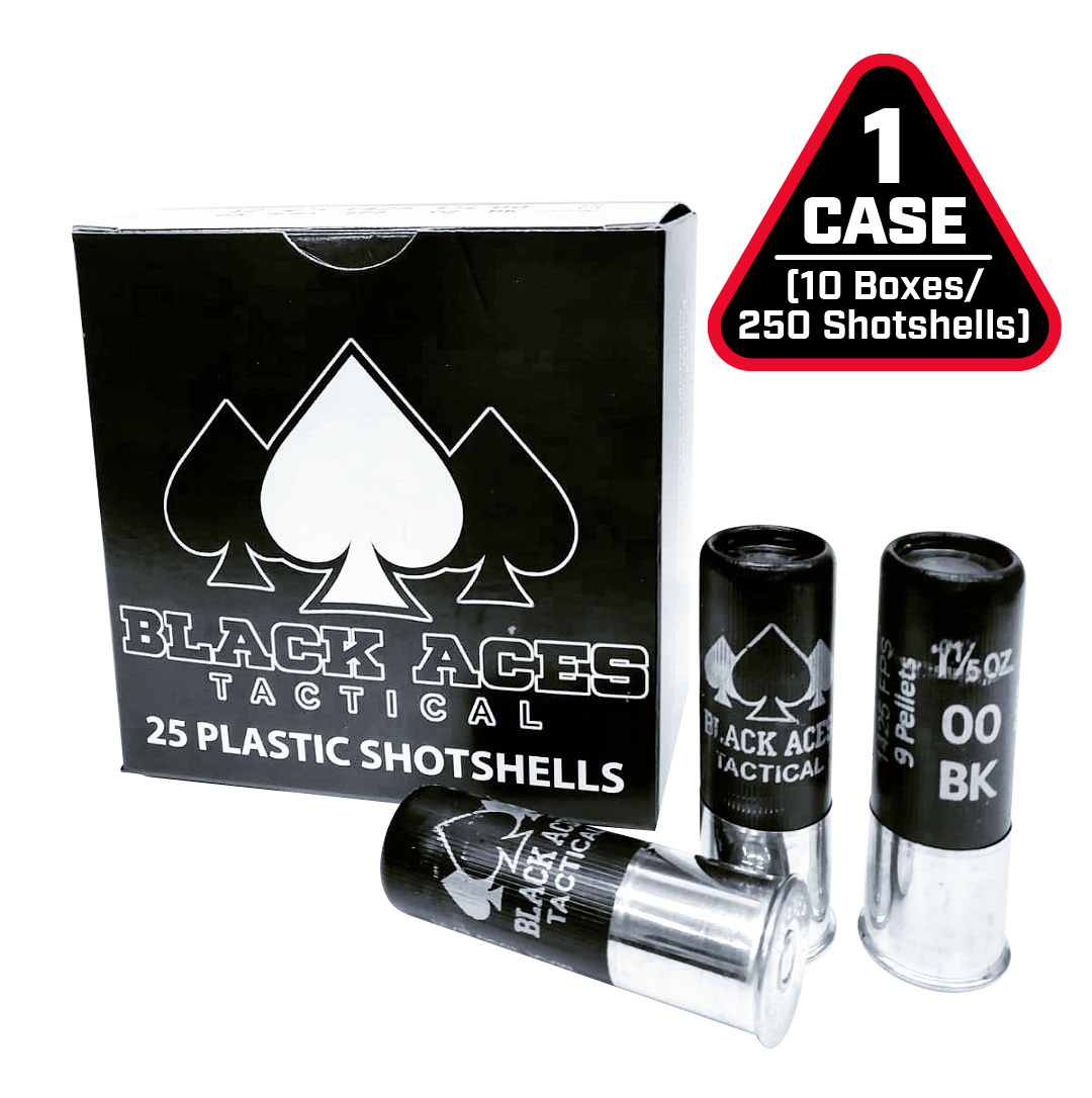 Black Aces Tactical 12ga Buckshot 2.75 inch Shotgun Shells - 9 pellets | 00 Buck | 1425 fps | Zinc coated steel casing | 1 Case (10 boxes/250rds)