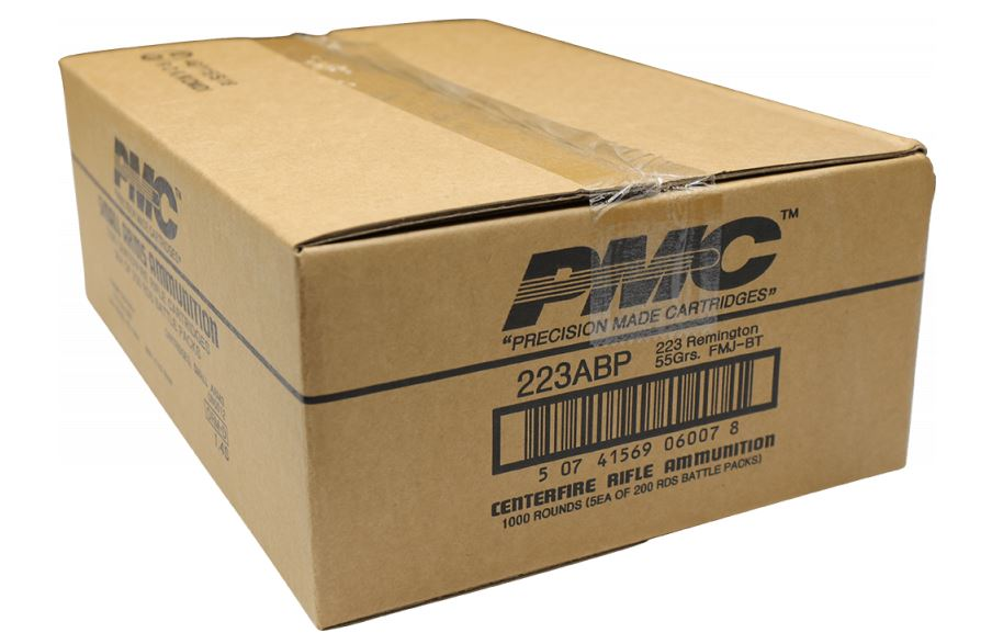 PMC Bronze .223 Remington Rifle Ammo in Battle Packs - 55 Grain | FMJ-BT | 1 Case (Five 200rd Battle Packs for a total of 1,000rds)