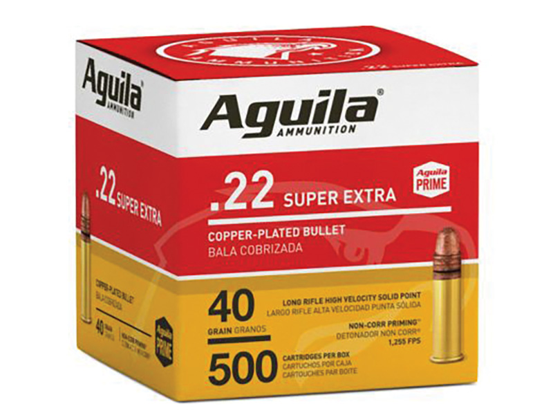 Aguila 1B221115 Standard High Velocity 22 LR 40 gr Copper-Plated Solid Point 500 Bx/ 4 Cs