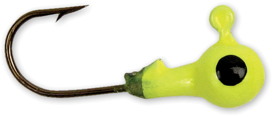GOT-CHA HJH16-10 Round Jig Head 1/16 oz, Sz 4 Hook, Chartreuse