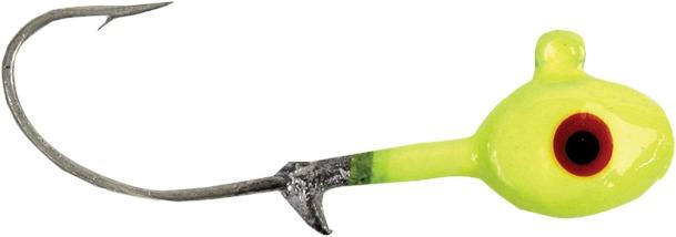 GOT-CHA HSWG-14-10-8PK Grub Head 1/4 oz, 1/0 Hook, Chartreuse, 8/Pack