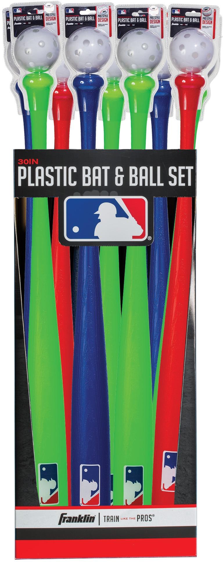 Franklin 64094 MLB Plastic Bat & Ball 12 pc Floor Display