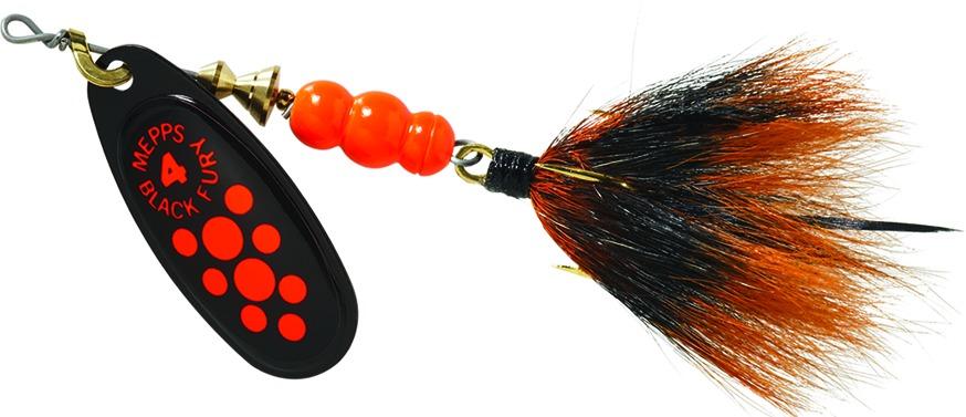 Mepps BF4T FL Black Fury In-Line Spinner, 1/3 oz, Dressed Treble