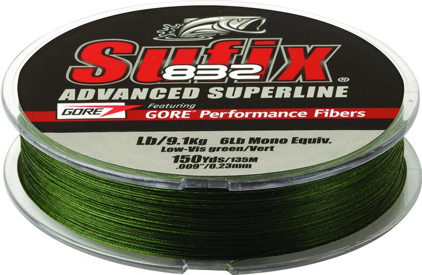 Sufix Advanced Superline 832 Braid 50 lb LowVis Green 300 yd