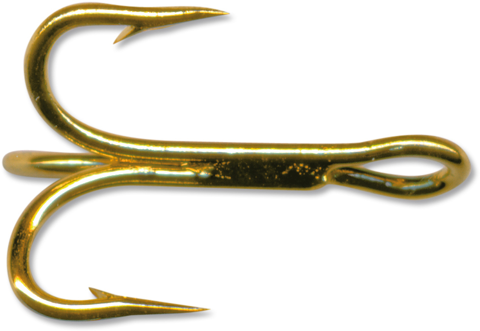 Mustad Treble Hook OShaughnessy-Gold 5 Count Size 10