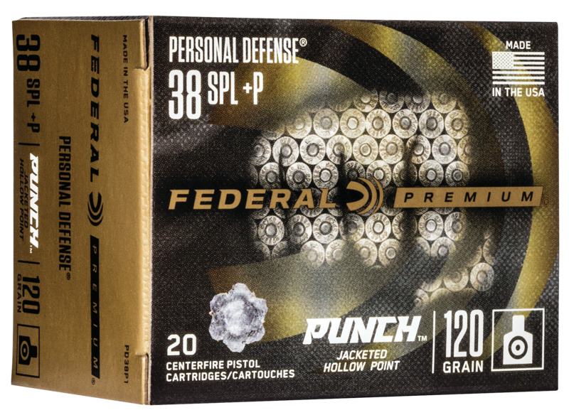 Federal PD38P1 Premium Punch  38 Special +P 120 gr Jacketed Hollow Point (JHP) 20 Bx/ 10 Cs