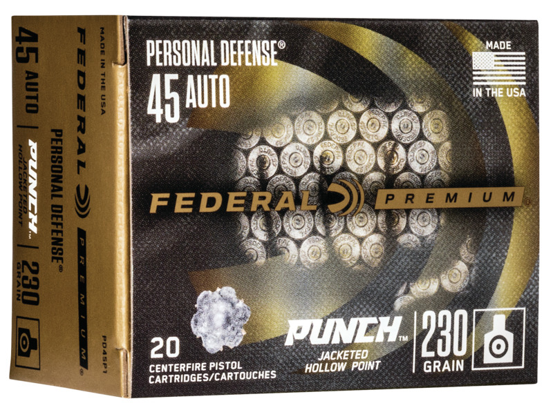 Federal PD45P1 Premium Punch  45 ACP 230 gr Jacketed Hollow Point (JHP) 20 Bx/ 10 Cs