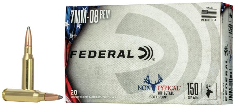 Federal 708DT1 Non-Typical  7mm-08 Rem 150 gr Non-Typical Soft Point (SP) 20 Bx/ 10 Cs