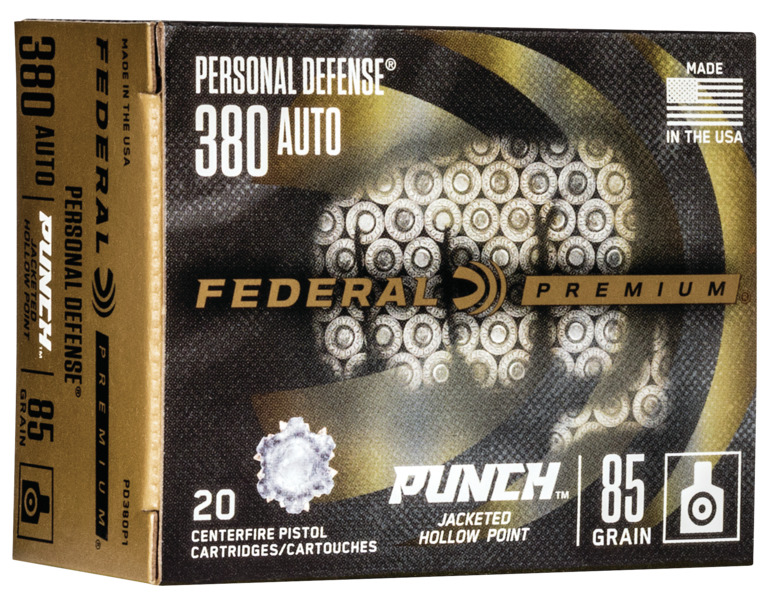 Federal PD380P1 Premium Punch  380 ACP 85 gr Jacketed Hollow Point (JHP) 20 Bx/ 10 Cs
