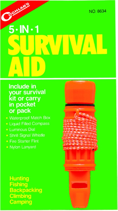 Coghlans 8634 5-In-1 Survival Aid Box/Compass/Whistle/Flint/Lanyard