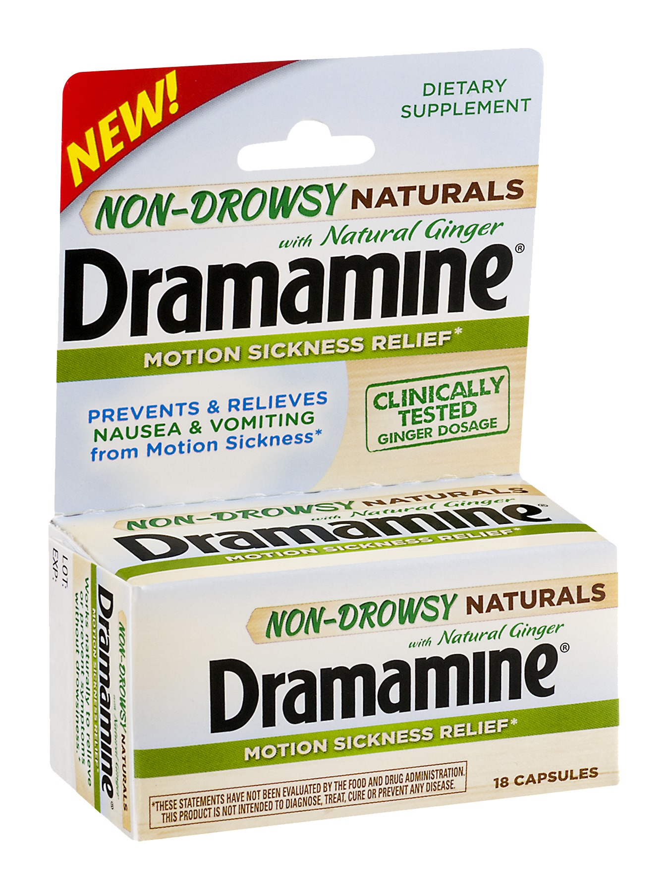 Dramamine 1810GIN Motion Sickness W/ NATURAL GINGER NON DROWSY - 18