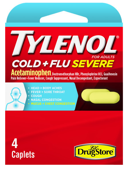 Marine Sports 1764 Tylenol Cold & Flu Severe (Acetaminophen) 4 count