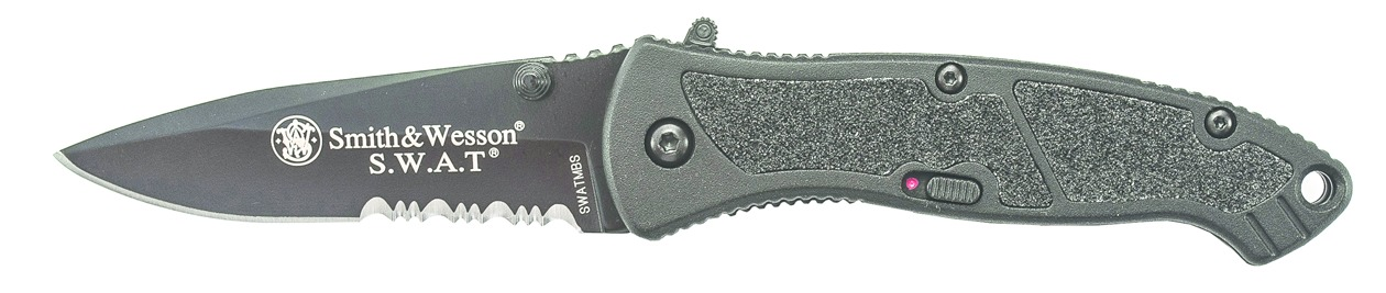 SW SWATMB Assisted 3.125 in Black Combo Blade Aluminum Hndl
