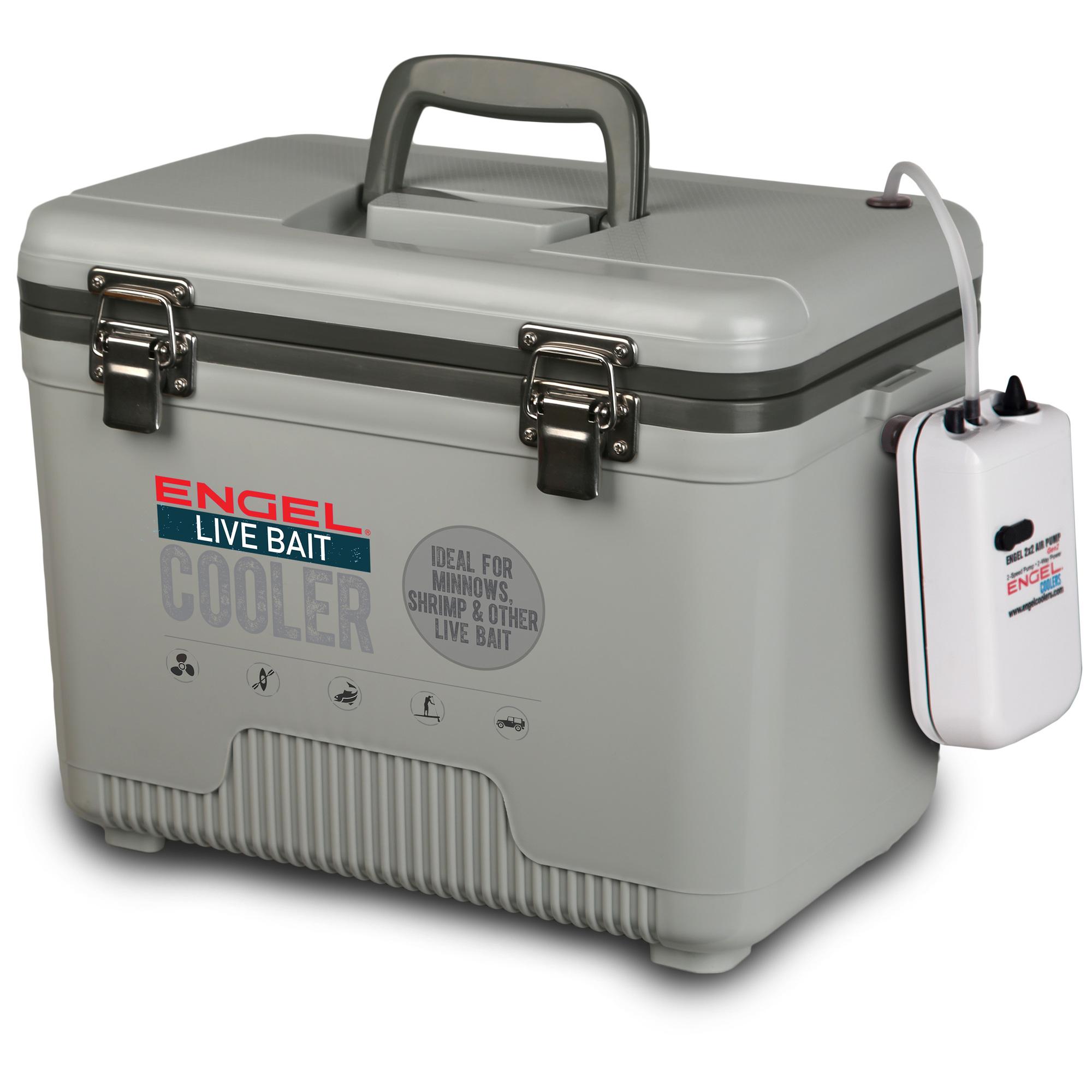 Engel ENGLBC13-N-G Live Bait Cooler 13 Qt - 2x2 Aerator Pump, Air Tube