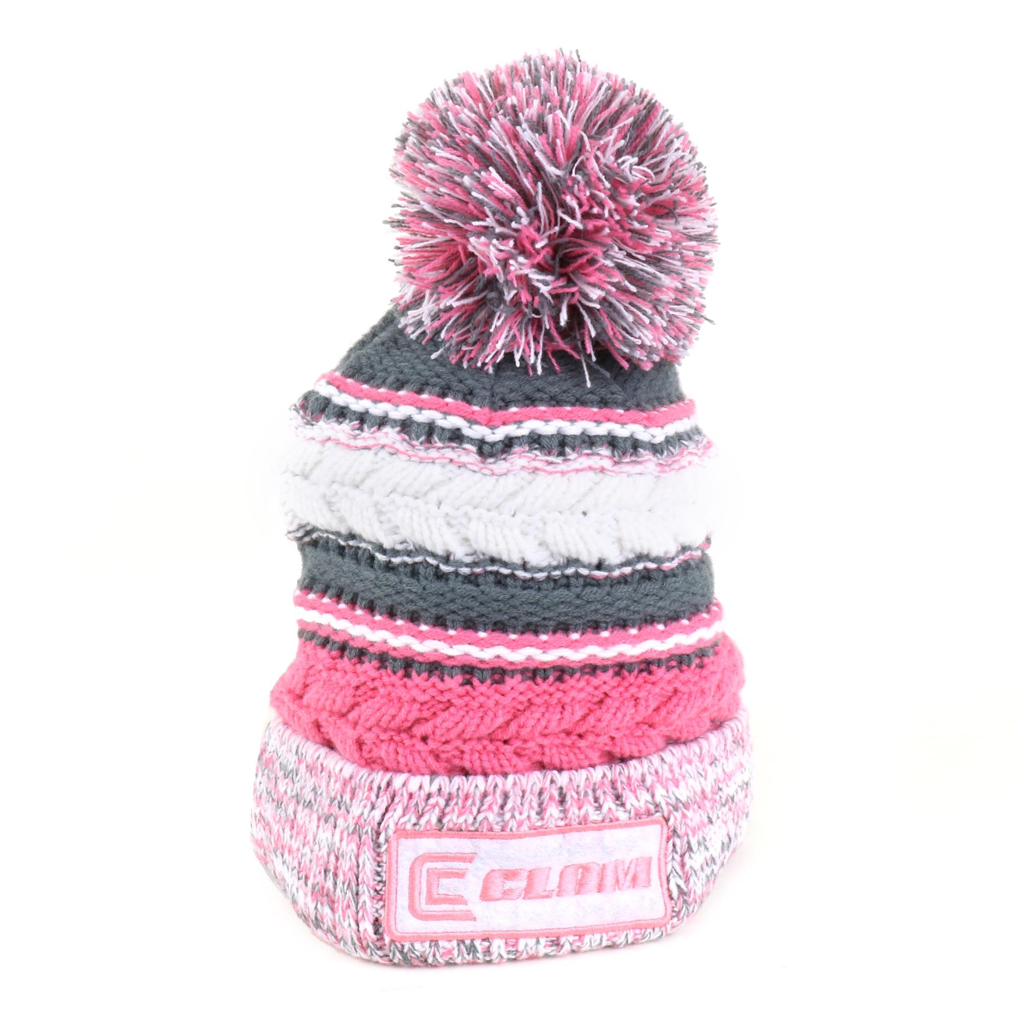Clam 10600 Pink Knit Pom Stocking Hat