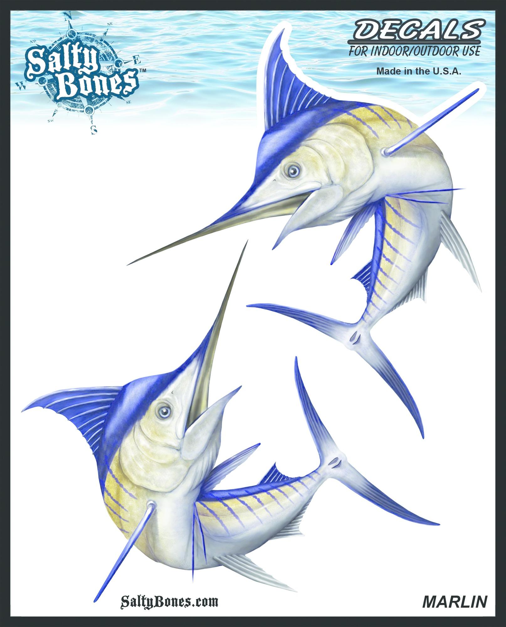 Salty Bones BSD2481 Decal, Double Marlin