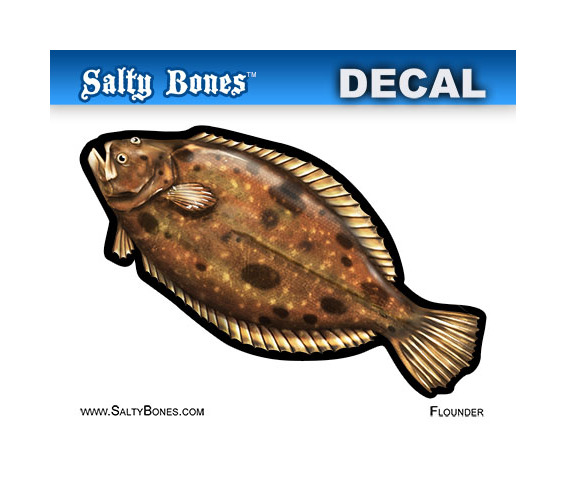 Salty Bones BPF2514M Profile Mini Decal-Flounder