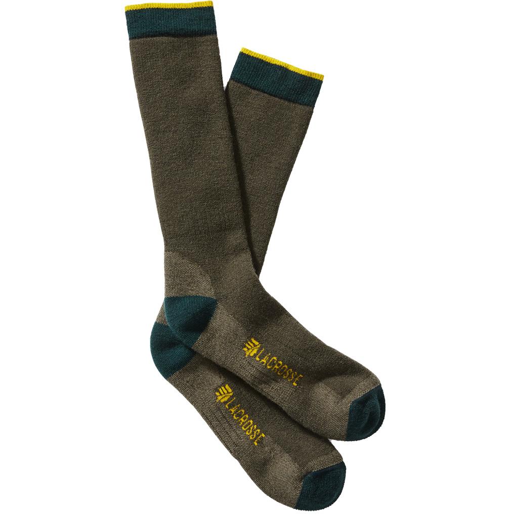 Lacrosse Men's Merino Midweight Socks  <br>  Crew OD Green Large