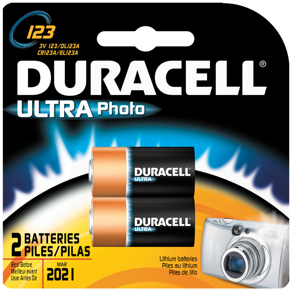 Duracell Lithium Battery  <br>  CR123 2 pk.