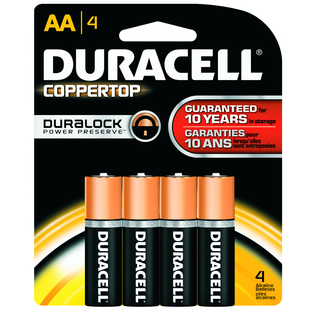Duracell Coppertop Battery  <br>  AA 4 pk.