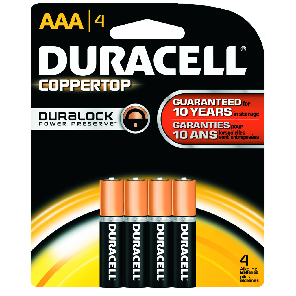 Duracell Coppertop Batteries  <br>  AAA 4 pk.