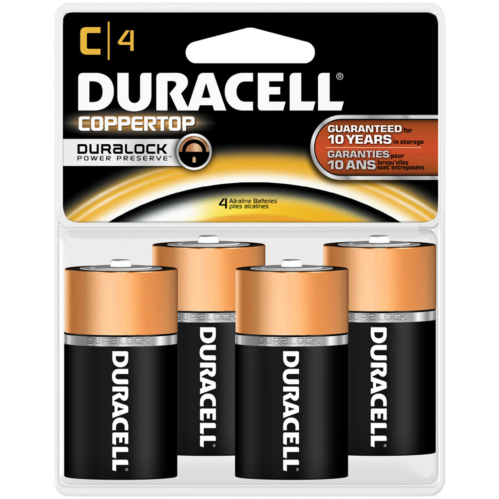 Duracell Coppertop Battery  <br>  C 4 pk.