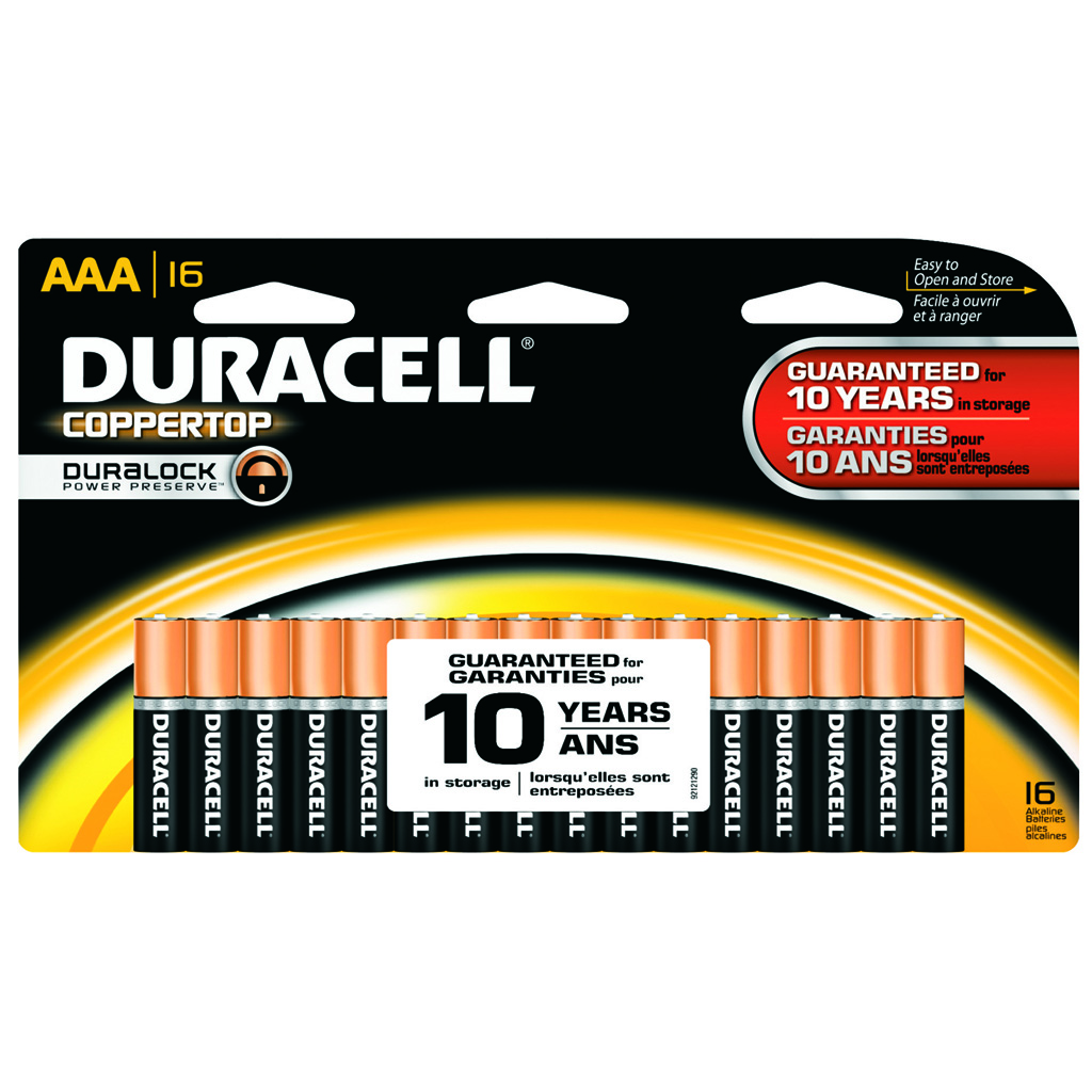 Duracell Coppertop Battery  <br>  AAA 16 pk.
