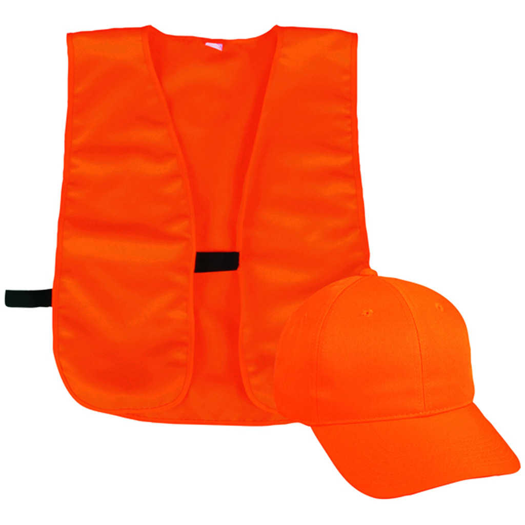 Outdoor Cap Vest and Cap Combo  <br>  Blaze Orange Youth