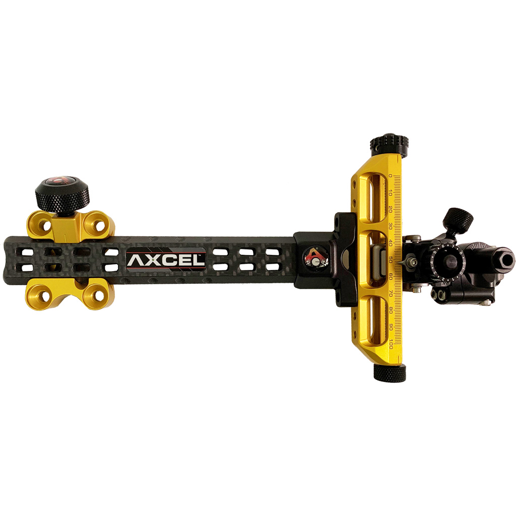 Axcel Achieve Compound X Sight  <br>  Gold/ Black 6 in. RH