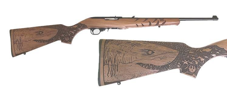 10/22 GREAT WHITE 22LR BL/WD - 31148 ENGRAVED GREAT WHITE