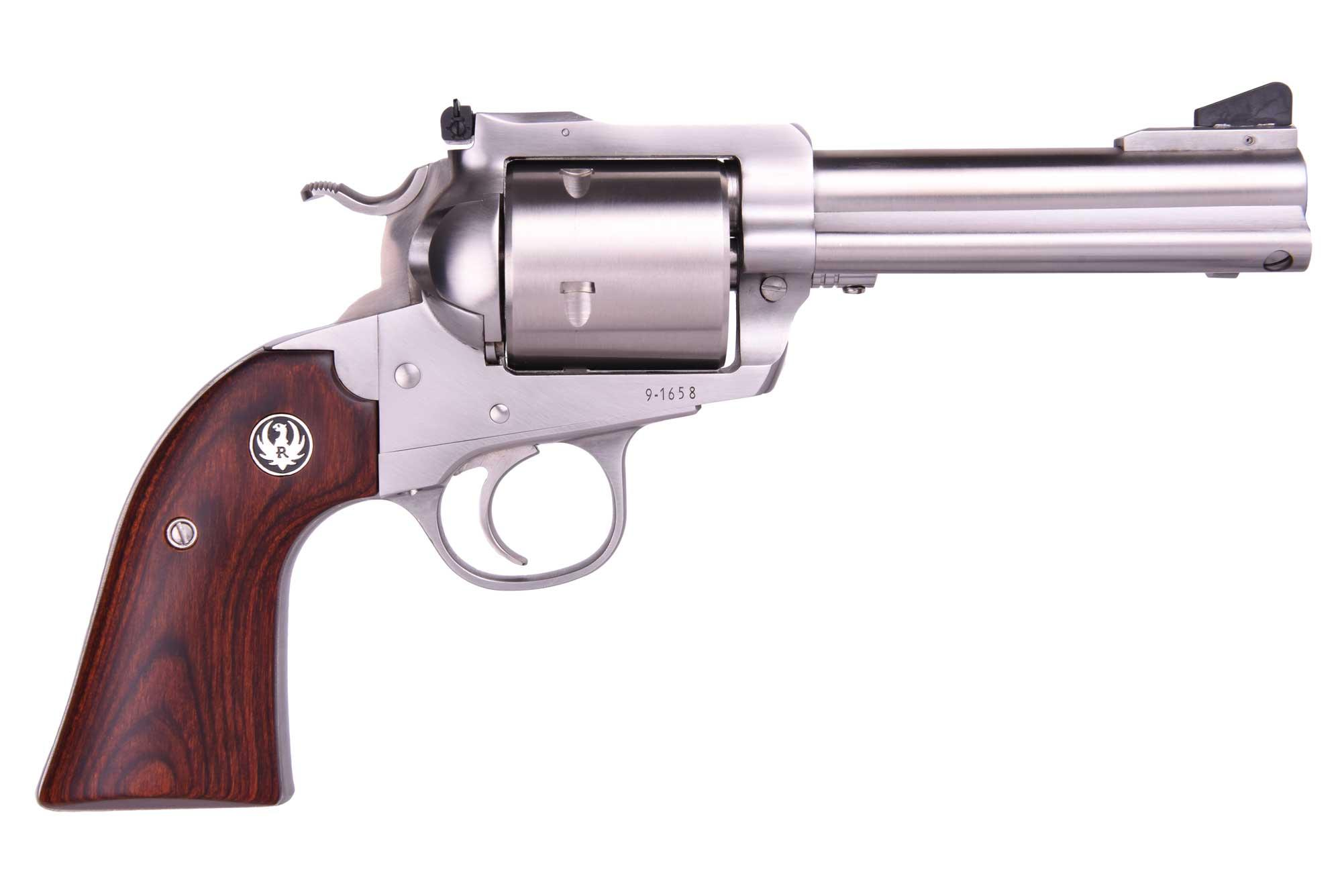 BISLEY 454 CASULL SS 4-5/8 AS - 0873 WOOD GRIPS / UNFLUTED CYL