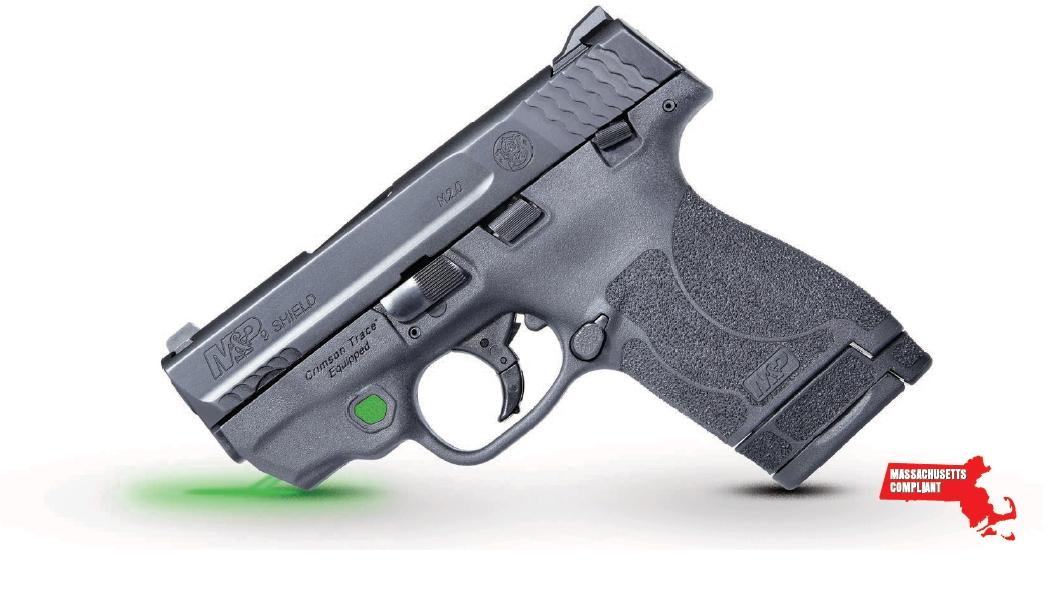 Smith & Wesson 12469 M&P 9 Shield M2.0 *MA Compliant with Crimson Trace Green Laser 9mm Luger 3.10