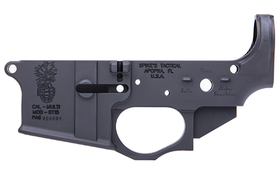 Spikes STLS032 Stripped Lower Pineapple Grenade Multi-Caliber Black Hardcoat Anodized 7075 T6 Aluminum