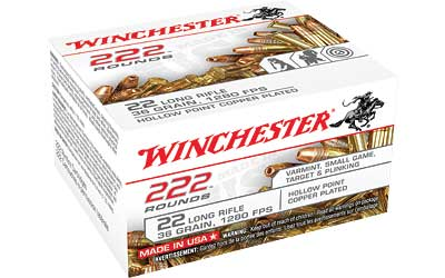 Winchester Ammo 22LR222HP USA  22 LR 36 gr Copper Plated Hollow Point (CPHP) CAN 222 Bx/ 10 Cs