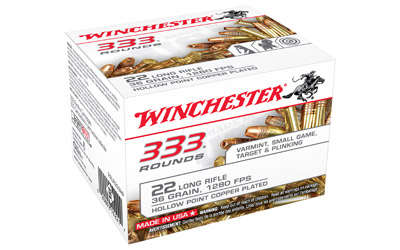 Winchester Ammo 22LR333HP USA  22 LR 36 gr Copper Plated Hollow Point (CPHP) 333 Can/ 10 Cs