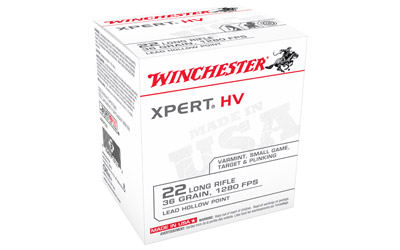 Winchester Ammo XPERT22 USA Xpert HV 22 LR 36 gr Lead Hollow Point (LHP) 500 Case/ 10 Cs