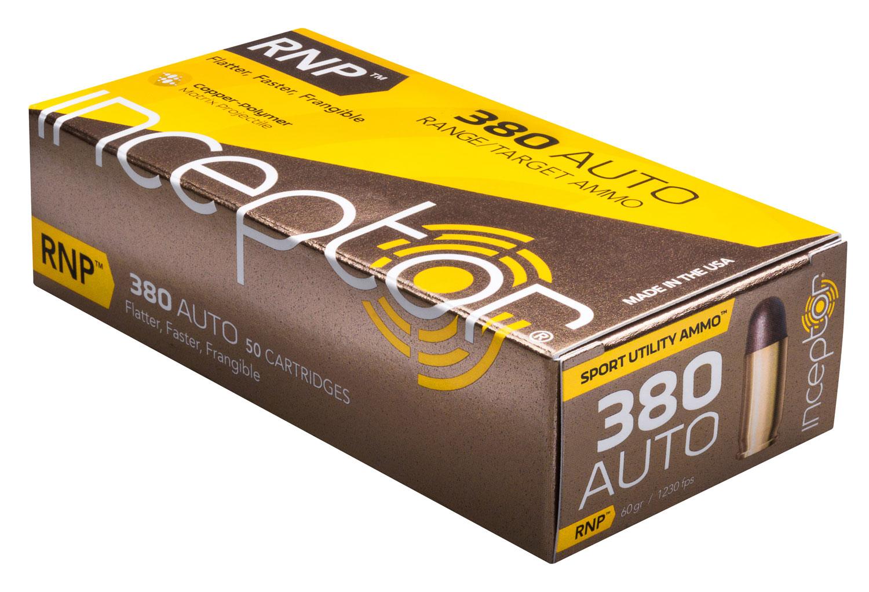Inceptor 380RNPBR50 Sport Utility 380 Automatic Colt Pistol (ACP) 60 GR RNP 50 Bx/ 20 Cs
