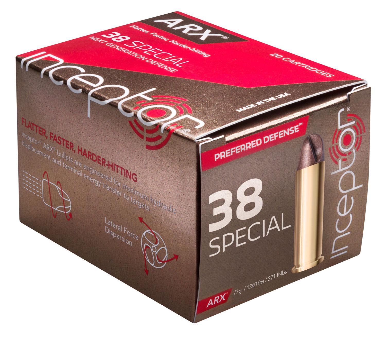 Inceptor 38ARXBRS920 Preferred Defense 38 Special 77 GR ARX 20 Bx/ 10 Cs