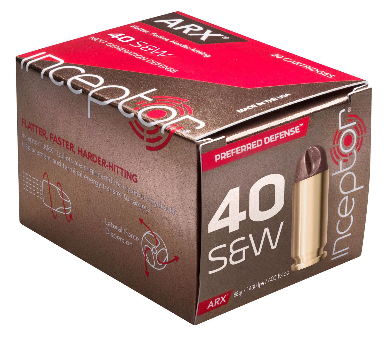 Inceptor 40ARXBRSW88 Preferred Defense 40 Smith & Wesson (S&W) 88 GR ARX 20 Bx/ 10 Cs
