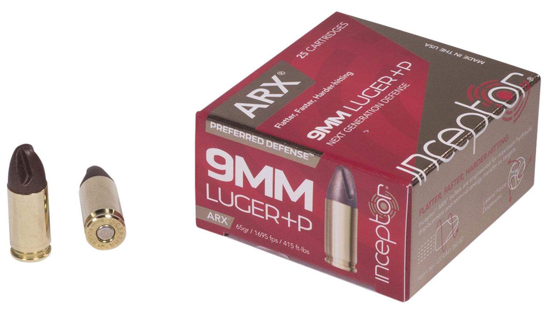 Inceptor 9ARXBRLUGP65 Preferred Defense 9mm Luger +P 65 GR ARX 25 Bx/ 10 Cs