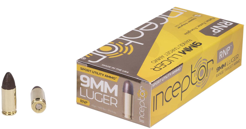 Inceptor 9RNPBRLUG50 Sport Utility 9mm Luger 65 GR RNP 50 Bx/ 20 Cs