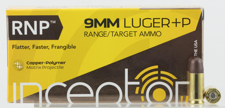 Inceptor 9RNPBRLUGP50 Sport Utility 9mm Luger +P 65 GR RNP 50 Bx/ 20 Cs
