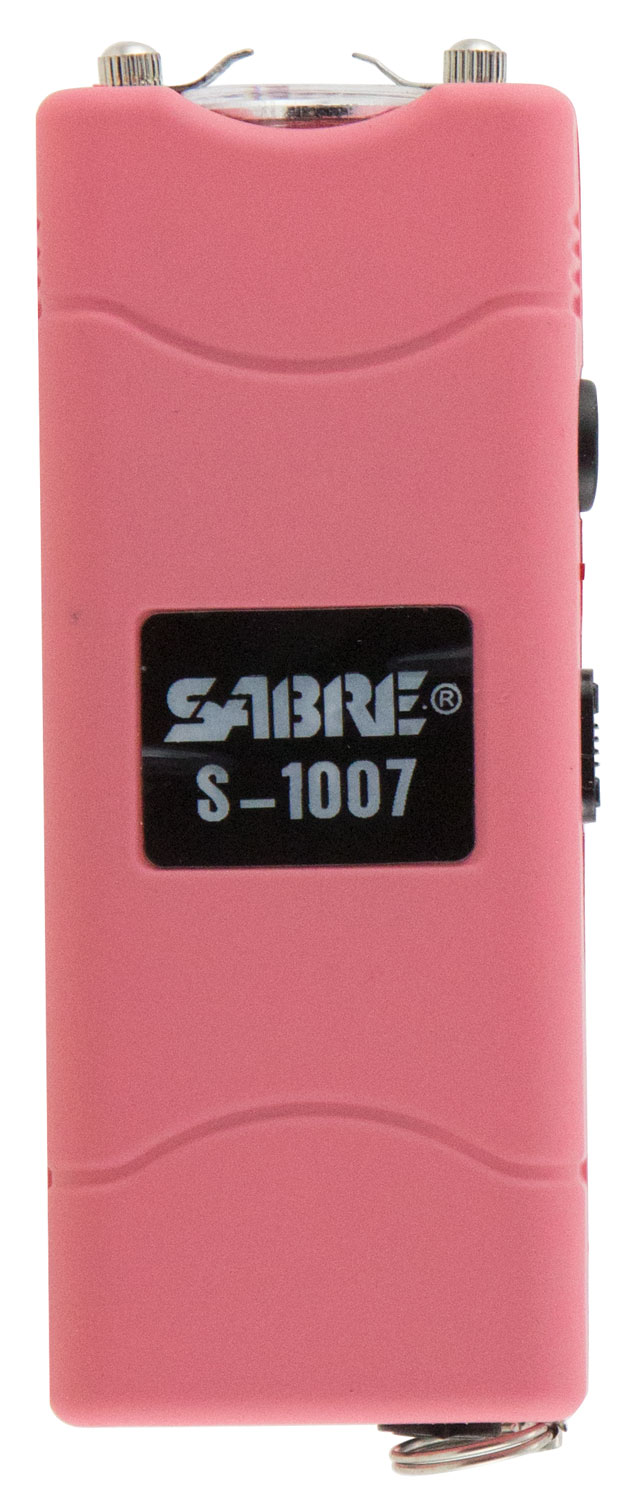 Sabre S1007PK Short Stun Gun  with Flashlight 3.8 Million 120 Lumen Plastic Pink