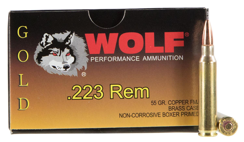 Wolf G22355 Performance Gold 223 Remington/5.56 NATO 55 GR Full Metal Jacket 20 Bx/ 50 Cs 1000 Total (Case)
