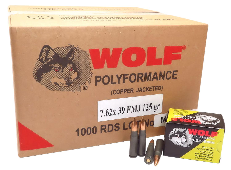 Wolf 762CFMJ PolyFormance Rifle 7.62X39mm 125 GR Full Metal Jacket 20 Bx/ 50 Cs 1000 Total (Case)