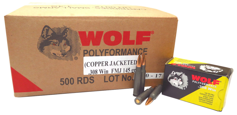 Wolf 308CFMJ PolyFormance Rifle 308 Winchester/7.62 NATO 145 GR Full Metal Jacket 20 Bx/ 25 Cs 500 Total (Case)