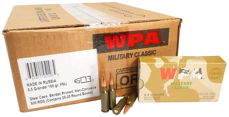 Wolf MC65GRENFMH Military Classic Rifle 6.5mm Grendel 100 GR Full Metal Jacket 20 Bx/ 25 Cs 500 Total (Case)