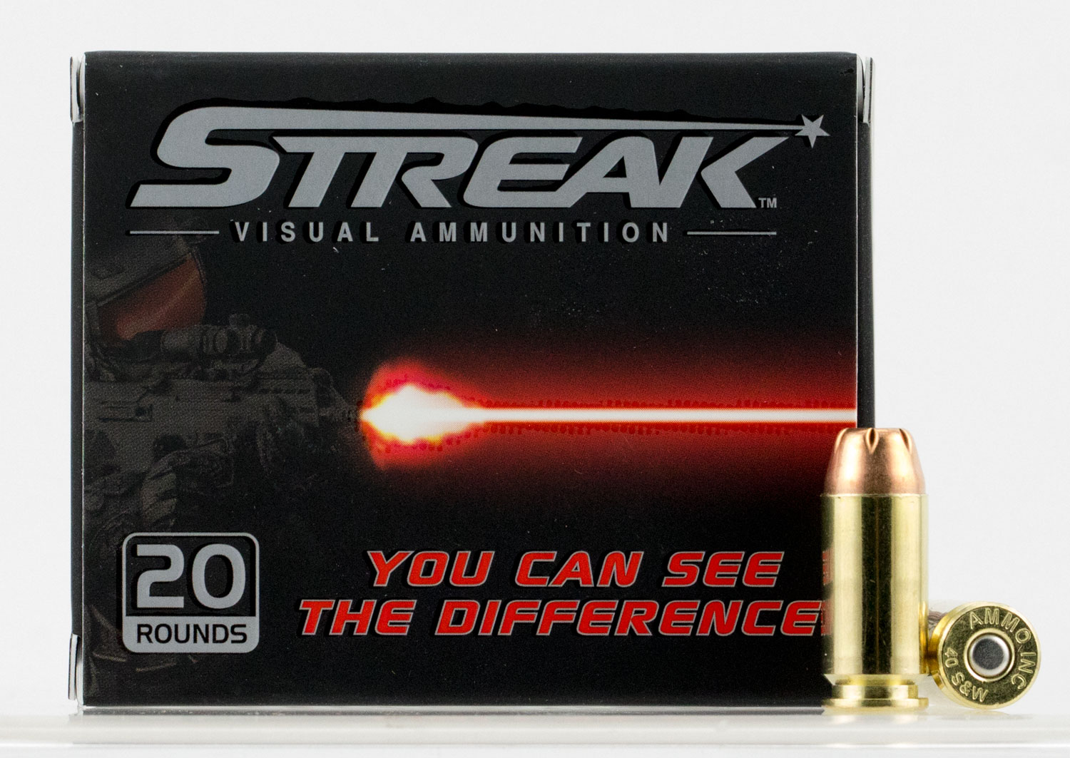 Ammo Inc 40180JHPSTRK Streak Red 40 Smith & Wesson (S&W) 180 GR Jacketed Hollow Point 20 Bx/ 10 Cs