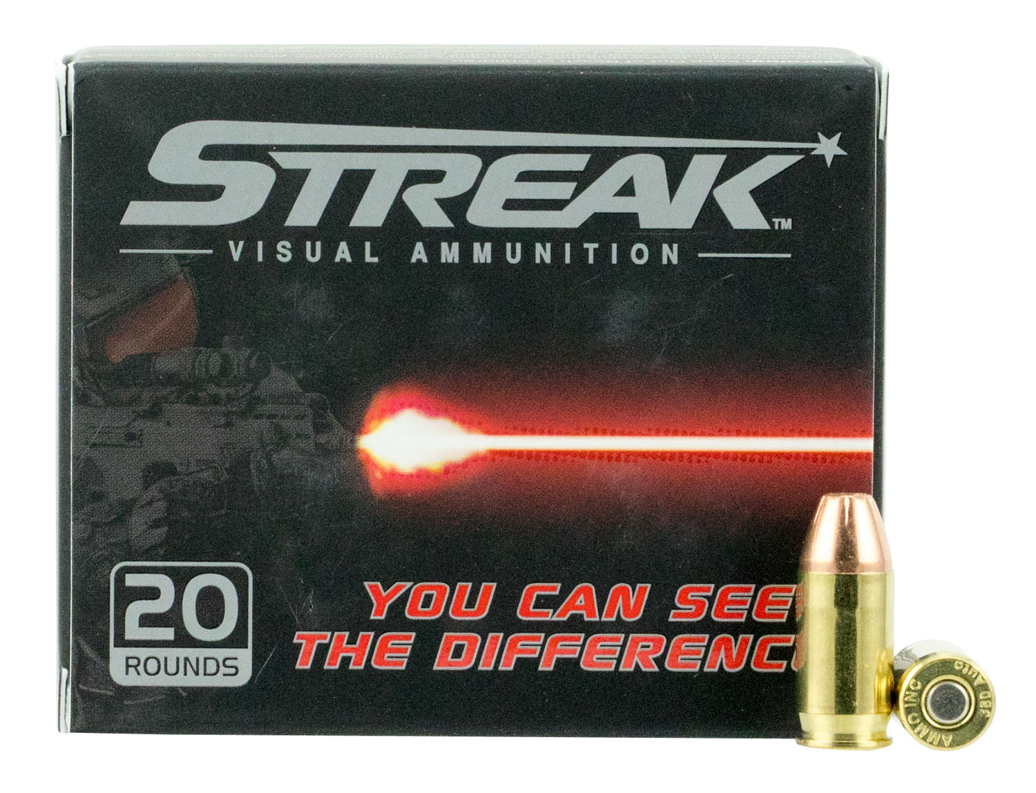 Ammo Inc 380090JHPSTR Streak Red 380 Automatic Colt Pistol (ACP) 90 GR Jacketed Hollow Point 20 Bx/ 10 Cs