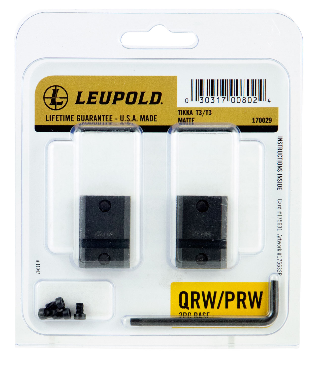 Leupold 170029 QRW 2-Piece Base For Tikka T3/T3x Weaver Style Black Matte Finish